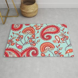 Paisley Pattern (blue and red) Rug