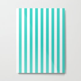 Narrow Vertical Stripes - White and Turquoise Metal Print