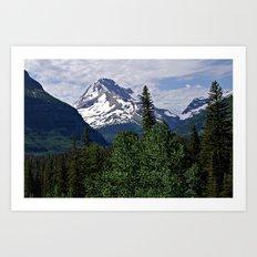 Glacier National Park Mountain and Sky Art Print