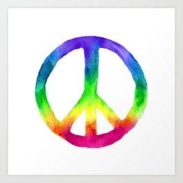 Rainbow Watercolor Peace Sign Art Print