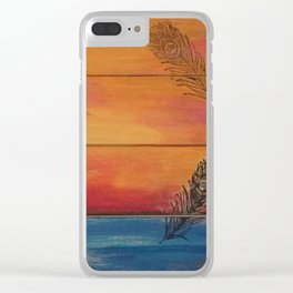 Rising Sun. My Orginal Abstract Painting by Jodilynpaintings. Abstract Sunset With Feathers. Beach Clear iPhone Case