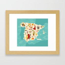 Spain map vector. Illustrated map of Spain for children Framed Art Print