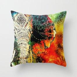 Asian Mandala Elephant Blue Orange Yellow Green Throw Pillow