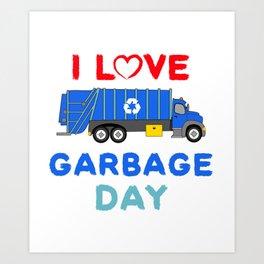 Kids Garbage Truck Shirt - Garbage Day - Blue Garbage Truck Art Print