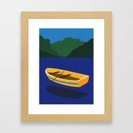 Boat On The Mountain Lake Framed Art Print