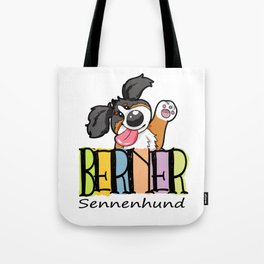 Happy Bernese Mountain Dog Puppy Cute Cartoon Gift Tote Bag