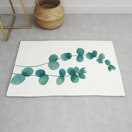 green eucalyptus watercolor Rug