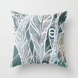 Feathery Design in Emerald Green Throw Pillow