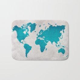 Map of the World - Blue Steel Bath Mat