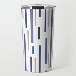 Interrupted Lines Mid-Century Modern Minimalist Pattern in Blue, Purple, and Taupe on White Travel Mug