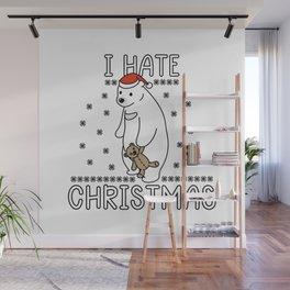 Sad Polar Bear Funny Christmas Present Wall Mural
