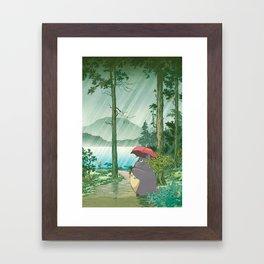 Anime and vintage japanese woodblock mashup Framed Art Print
