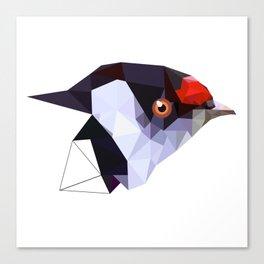 Geometric bird Tangarazinho Black Gray red Canvas Print