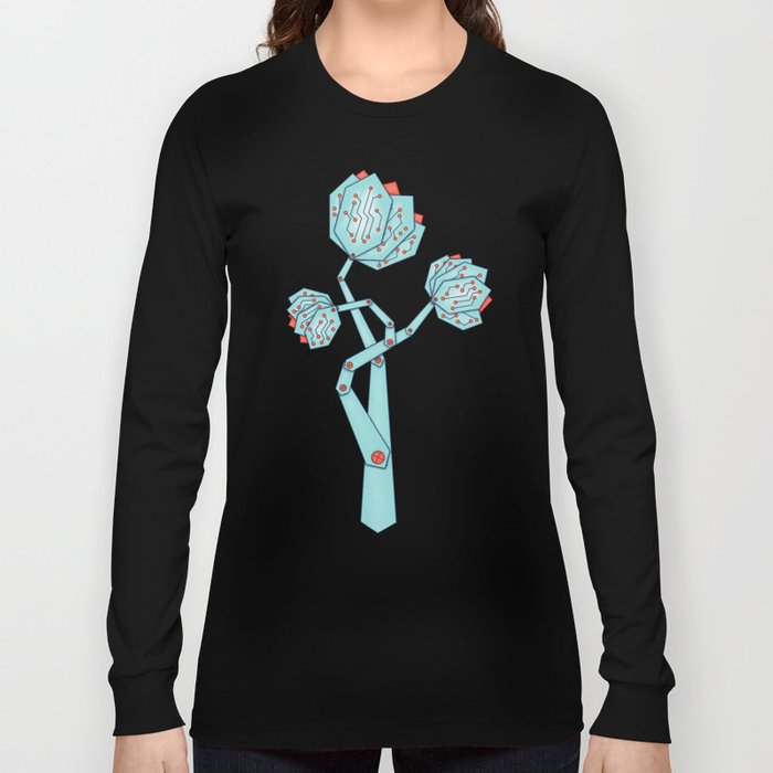 Electronic Flowers Circuit Board Petals Long Sleeve T-shirt