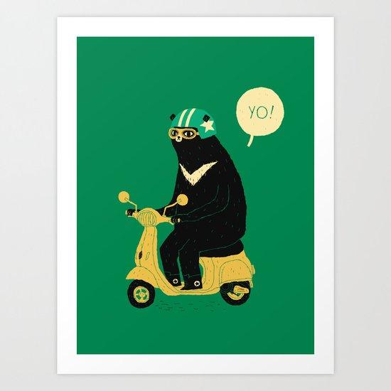 scooter bear green Art Print