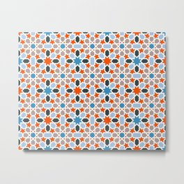 Mosaic pattern red, blue - colorful abstract oriental pattern Metal Print