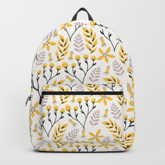 Mod Floral Yellow Gray Backpack