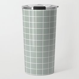 Ash gray - grey color - White Lines Grid Pattern Travel Mug