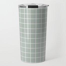 Ash gray - grey color - White Lines Grid Pattern Travel Mug