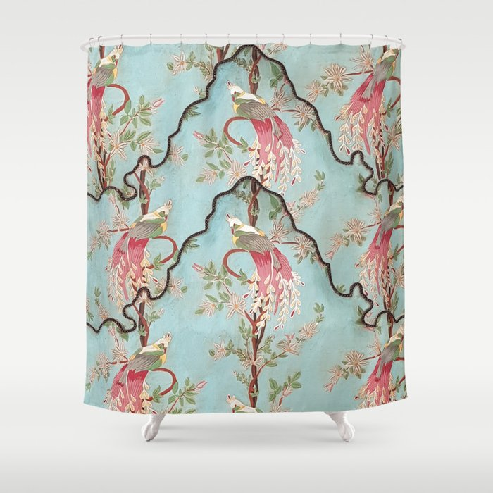 Vintage Green Coral Pink Floral Elegant Peacock Bird Shower Curtain