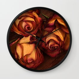 Memories- dried roses Wall Clock