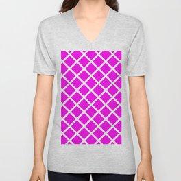Criss-Cross (White & Magenta Pattern) Unisex V-Neck