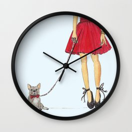 Zoe and her Frenchie Wall Clock