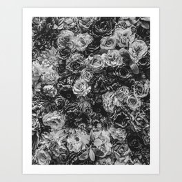 Flower Wall // Black and White Flat Floral Accent Background Jaw Dropping Decoration Art Print