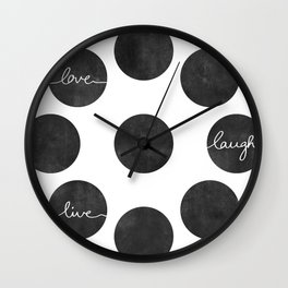Love Laugh Live 2 (Black) Wall Clock
