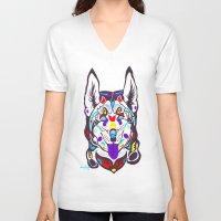 husky V-neck T-shirts featuring Husky  by PastelxPalette