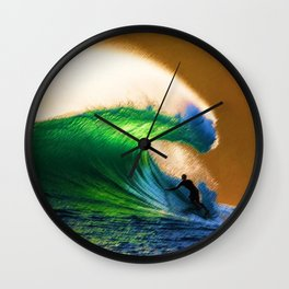 A-frames at East Beach, Rhode Island Landscape Painting by Jeanpaul Ferro Wall Clock