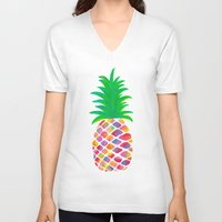 pineapple V-neck T-shirts featuring Pineapple by Lindsay Milgrim