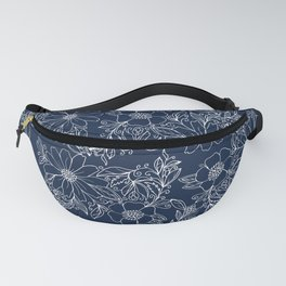 Artistic hand painted navy blue white modern floral Fanny Pack