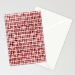 Dusty Pink Gingham Plaid Faux Suede Stationery Cards