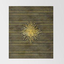 Apollo Sun Symbol on Greek Key Pattern Throw Blanket