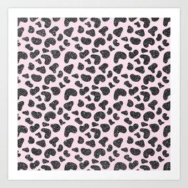 Girly pastel pink hipster black glitter animal print Art Print