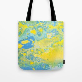 Fluid Art Acrylic Painting, Pour 36, Yellow, Green & Blue Blended Color Tote Bag