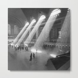 New York Grand Central Train Station Terminal Black and White Photography Print Metal Print