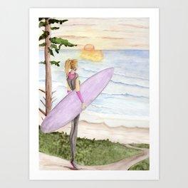 Surfing - Oregon Coast Art Print