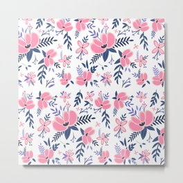 Pink Flowers Pattern 2 Metal Print