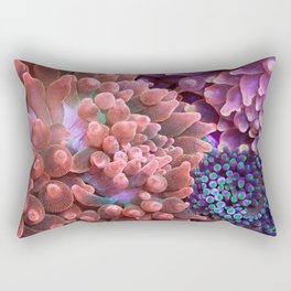 Anemone Collage (Rose Bubble Tips) Rectangular Pillow