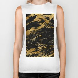 Luxury and sparkle gold glitter and black marble Biker Tank