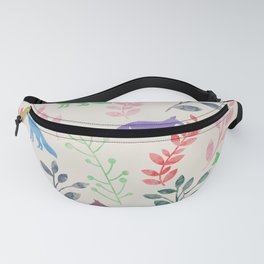 Watercolor Floral & Fox III Fanny Pack