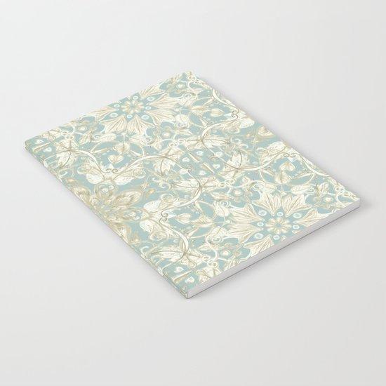 Soft Sage & Cream hand drawn floral pattern Notebook