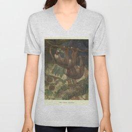 Vintage Sloth Painting (1909) Unisex V-Neck