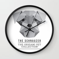 schnauzer Wall Clocks featuring The Schnauzer by The Origami Pet Collection