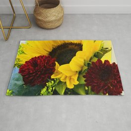 Big Sunny Sunflower and Red Flowers Bouquet Rug