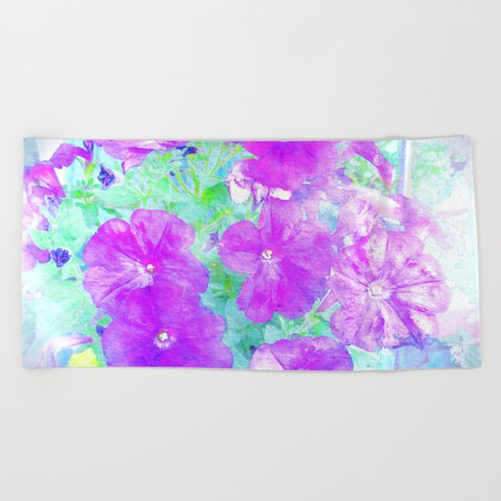 Watercolor Petunias Beach Towel