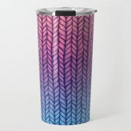 Chunky Knit Pattern in Pink, Blue & Purple Travel Mug