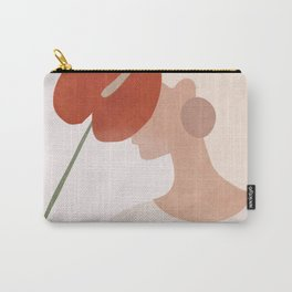 Lady with a Red Leaf Carry-All Pouch
